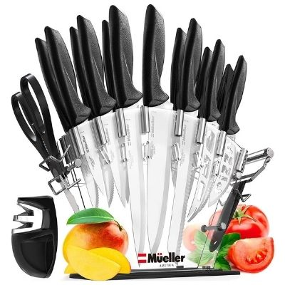 Mueller 17 Piece High Carbon Kitchen Knife Set